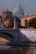 Bridge Painting Framed Prints - Il Cupolone Framed Print by Guido Borelli
