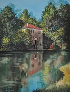 Watercolor Landscapes Posters - IL de Nois Reflections Poster by Robert W Cook nws