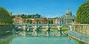 Watercolor Print Posters - Il Fiumi Tevere Roma Poster by Richard Harpum