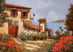 House Framed Prints - Il Giardino Rosso Framed Print by Guido Borelli