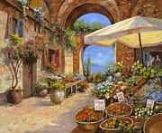 Orange Painting Metal Prints - Il Mercato Del Lago Metal Print by Guido Borelli