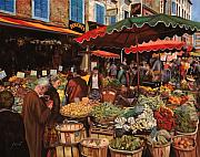 Old People Framed Prints - Il Mercato Di Quartiere Framed Print by Guido Borelli