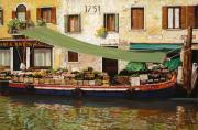 Water Reflections Painting Framed Prints - il mercato galleggiante a Venezia Framed Print by Guido Borelli