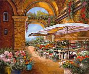 Red Flowers Art - Il Mercato Sotto I Portici by Guido Borelli