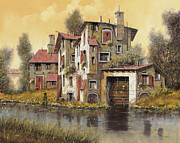 Mill Painting Framed Prints - Il Mulino Giallo Framed Print by Guido Borelli