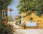 Terrace Framed Prints - Il Muretto E Il Mare Framed Print by Guido Borelli