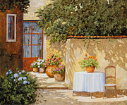 Table Painting Metal Prints - Il Muretto E Il Tavolo Metal Print by Guido Borelli