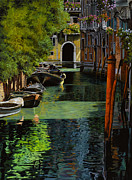 Canals Painting Framed Prints - il palo rosso a Venezia Framed Print by Guido Borelli