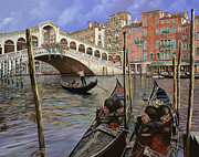 Gondola Paintings - Il Ponte Di Rialto by Guido Borelli