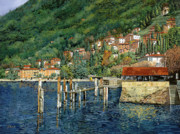 Green Blue Framed Prints - il porto di Bellano Framed Print by Guido Borelli