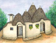 Italian Landscape Painting Originals - Il Trullo Alberobello by Pamela Allegretto