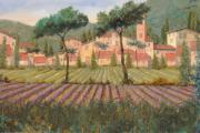 Hill Painting Framed Prints - Il Villaggio Tra I Campi Di Lavanda Framed Print by Guido Borelli