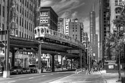 Chicago Black White Posters - IL0069 Wabash Avenue Chicago Poster by Steve Sturgill