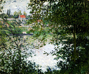 Claude Paintings - Ile de La Grande Jatte Through the Trees by Claude Monet