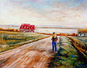 Quebec Cities Paintings - Ile Dorleans Road To The Red Gabled House Quebec Maritime Landscape by Carole Spandau