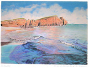 Colored Pencil Landscape Drawings Drawings - Iles de la Madeleine by Wilfrid Barbier