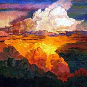 Clouds Sunset Painting Prints - Ill Fly Away O Glory Print by John Lautermilch