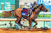 Kentucky Derby Drawings Prints - Ill Have Another Print by Dave Olsen