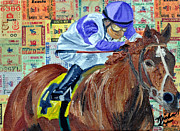 Kentucky Derby Mixed Media Prints - Ill have another wins Print by Michael Lee