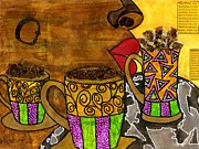 African-american Mixed Media Posters - Ill Take Three Cups of Java Please Poster by Angela L Walker