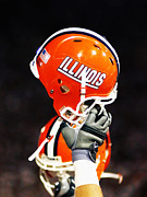 Sports Art Print Framed Prints - Illinois Football Helmet  Framed Print by University of Illinois