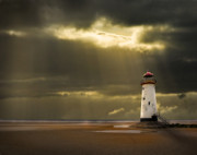 White Lighthouse.light Framed Prints - Illuminated Beacon Framed Print by Meirion Matthias