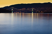 Burrard Inlet Photo Prints - Illuminated Bridge Across a Bay Print by Bryan Mullennix