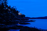 Backlit Prints - Illuminated cabin in the dark at the seaside Print by Ulrich Schade