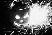 Time Off Prints - Illuminated Halloween Turnip Jack-o-lantern With Sparkler To Ward Off Evil Spirits Print by Joe Fox
