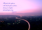 Purple Clouds Framed Prints - Illuminated Highway at Dusk - Greeting Card with Scripture Verse Framed Print by Yali Shi