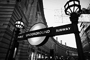 Piccadilly Prints - Illuminated London Underground Entrance Sign In Piccadilly Circus Entrance To Regent Street  Print by Joe Fox