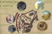Old Map Mixed Media Acrylic Prints - Illustrated Map of Denbigh Castle 1611 AD Acrylic Print by Martin Williams