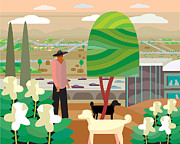Pet And Owner Prints - Illustration And Painting In Scottsdale Print by Charles Harker