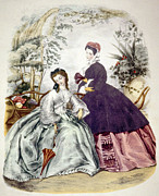 1800s Framed Prints - Illustration Of 19th Century Fashions Framed Print by Everett