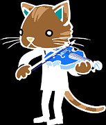 Violinist Digital Art - Illustration Of A Blue Cat Playing The Violin by Hidehiro Ueoka