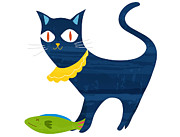 Looking At Camera Digital Art - Illustration Of A Cat Wearing A Bib With A Fish by Riyoco Hanasawa