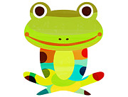 Looking At Camera Digital Art - Illustration Of A Colorful Frog by Riyoco Hanasawa
