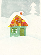Building Exterior Digital Art - Illustration Of A Cottage In The Snow With A Christmas Tree In The Window by Michiko Maeda