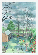 Shed Digital Art Posters - Illustration Of A Dark Clouds Over A Garden Poster by Dorling Kindersley