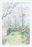 Shed Digital Art Metal Prints - Illustration Of A Garden As A Storm Is Developing Metal Print by Dorling Kindersley
