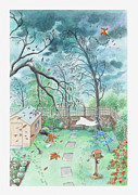 Shed Digital Art Metal Prints - Illustration Of A Garden During A Storm Metal Print by Dorling Kindersley