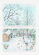 Shed Digital Art Posters - Illustration Of A Garden In Winter Seen Through A Window Poster by Dorling Kindersley