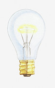 Light Bulb Digital Art Posters - Illustration Of A Light Bulb Poster by Dorling Kindersley