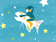 Young Man Posters - Illustration Of A Man Riding A Fish Through Space Poster by Riyoco Hanasawa