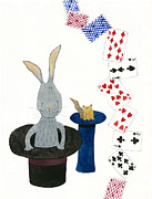 Animal Games Prints - Illustration Of A Rabbit In A Top Hat And Playing Cards Print by Michiko Maeda