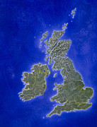 Uk Map Framed Prints - Illustration Of A Relief Map Of The British Isles Framed Print by Julian Baum
