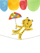 Tiger Illustration Framed Prints - Illustration Of A Tiger Walking A Tight Rope With A Colorful Umbrella Framed Print by Michiko Maeda