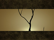 Bare Trees Metal Prints - Illustration Of A Tree Against A Sunset Metal Print by Vlad Gerasimov
