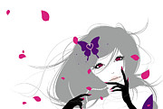 Looking At Camera Digital Art - Illustration Of A Young Woman With A Purple Butterfly In Her Hair Surrounded By Pink Flower Petals by All fiction