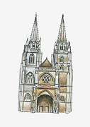 Pen Digital Art - Illustration Of Cathedrale Sainte-marie, Bayonne, Pyrenees-atlantiques, France by Dorling Kindersley